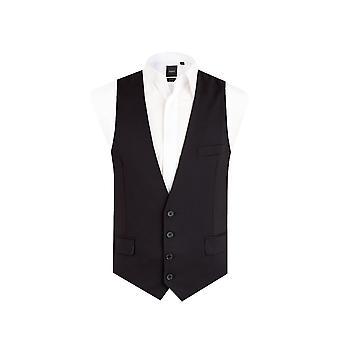Dobell Mens colete preto Slim Fit 4 botão