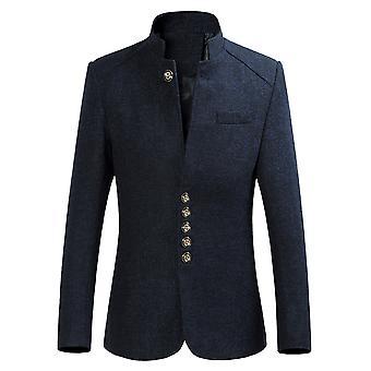 Allthemen Men's Solid ZhongShan Suit Stand Collar Slim Fit Blazer Suit Jacket