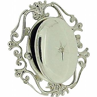 TOC Sterling Silver Clear Crystal Set Filigree Oval Locket Brooch