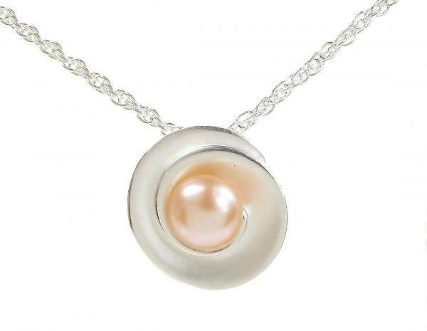 Cavendish French Sterling Silver and Pearl Rose Pendant without Chain