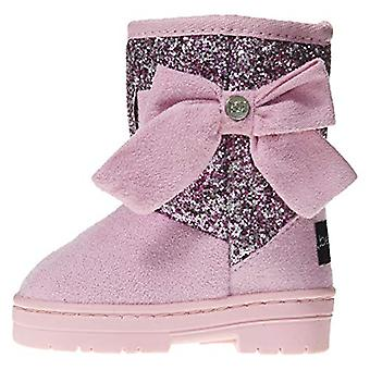 Toddler Girls Microsuede Glitter Winter Boots with Bow Comfort Slip-On Shoes