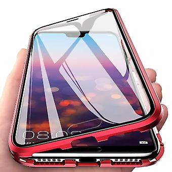 Magnetische aluminium case - vol glas - voor de Samsung A70 - rood