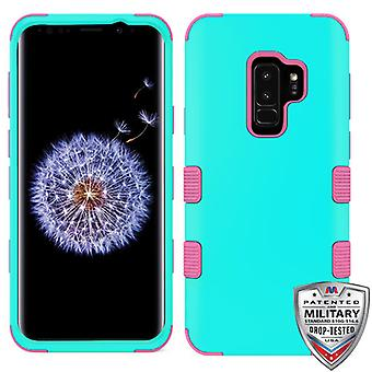MYBAT Rubberized Teal Green/Electric Pink TUFF Hybrid Phone Protector Cover for Galaxy S9 Plus