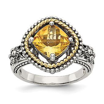 925 Sterling Argent Poli Finition Antique Avec 14k 2.10Citrine Ring - Taille de l'anneau: 6 à 8