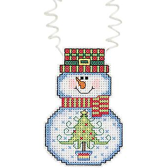 Holiday Wizzers Snowman With Tree Counted Cross Stitch Kit 3