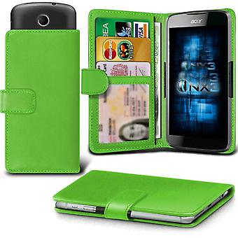 ONX3 Acer Liquid M220 Leather Universal Spring Clamp Wallet Case With Card Slot Holder and Banknotes Pocket-Green
