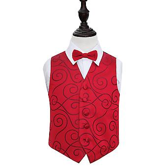 Boy's Burgundy Scroll Wedding Waistcoat & Bow Tie Set