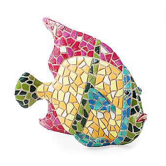 Brightly Coloured Mosaic Fish Garden or Home Ornament with Pink Fin