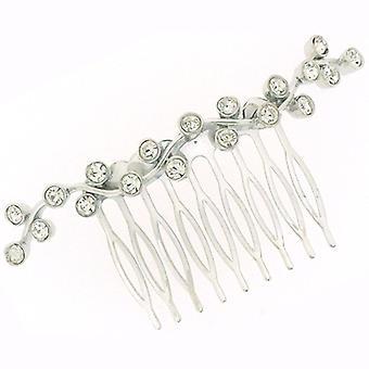 Bridal hårtillbehör Silver & Swarovski Crystal Swirl Hair Comb