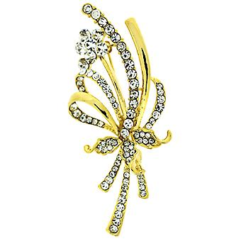 Brooches Store Gold & Crystal Bouquet Flower Corsage Brooch