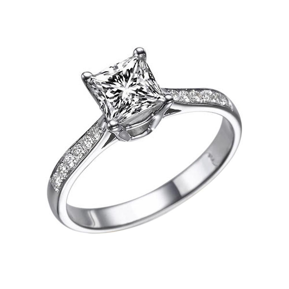 1.07 Carat G SI1 Diamond Engagement Ring 14K White Gold Solitaire w Accents Channel Set Princess