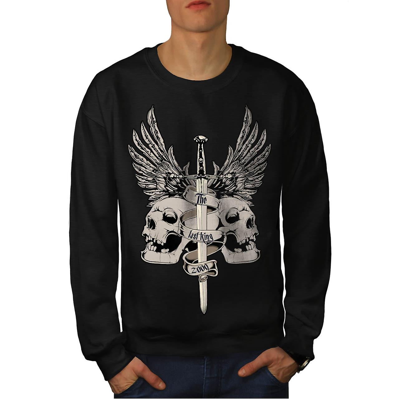 The Last King Leader Skull Rule Men Black Sweatshirt | Wellcoda