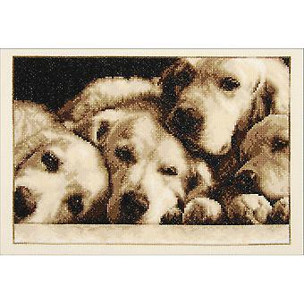 Labradors On Aida Counted Cross Stitch Kit-13.2