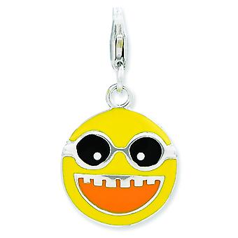 Sterling Silver Enameled Happy Face With Lobster Clasp Charm - 2.5 Grams