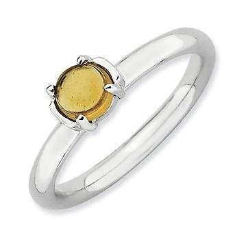 2.5mm Sterling Silver Stackable Expressions Citrine Rhodium-plated Ring - Ring Size: 5 to 10