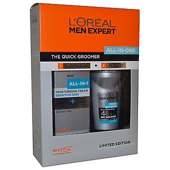 Men Expert dell'Oreal Groomer rapido tutto in un unico Set idratare crema 75ml & Roll on Deo