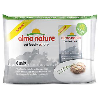 Almo Nature Classic Cat Pouch Value Pack Chicken & White Bait 6 X 55g