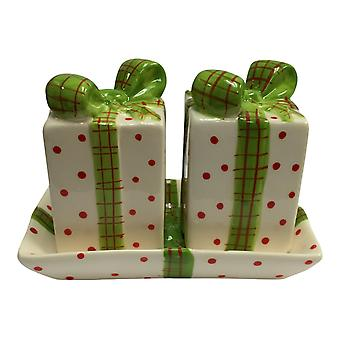 Holiday Gift Wrap Box with Big Red Bow Ceramic Salt and Pepper Shaker Set