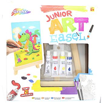 Grafix Junior Art Easel Paint Pack Easel, Paints, Tray, Brushes & Printed Canvas