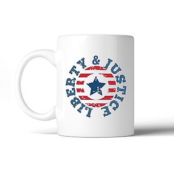 Liberty & Justice American Flag Coffee Mug For Independence Day
