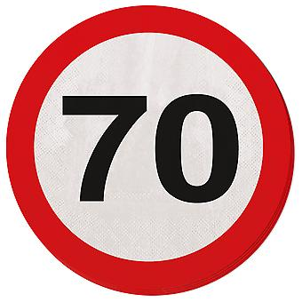 Napkin traffic sign number 70 20 St. sign birthday party