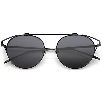 Oversize Open Metal Cat Eye Glasses With Crossbar Round Tinted Flat Lens 55mm