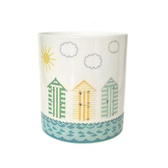 Light-Glow Porcelain Candle Holder, Beach Huts