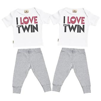 Spoilt Rotten I Love My Twin Baby T-Shirt & Baby Jersey Trousers Twins Outfit Set