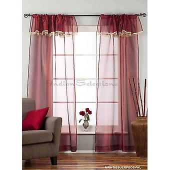 Maroon - Rod Pocket Sheer Tissue Curtain with Beaded Valance Panel Drape - Piece