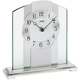 AMS table clock brushed metal base mineral glass crystal with silver aluminium