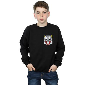 Looney Tunes Boys Bugs Bunny Face Faux Pocket Sweatshirt