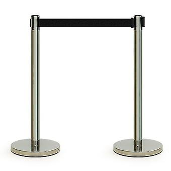Chrome Retractable Queuing Barrier Posts with Black Belt - Pack Of 2