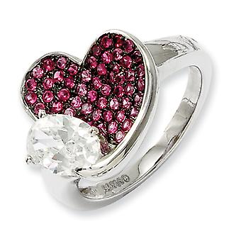 Sterling Silver and Cubic Zirconia Brilliant Embers Pink Heart Ring - Ring Size: 6 to 7