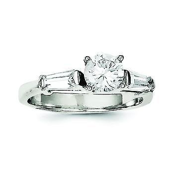 Sterling Silver Polished Cubic Zirconia Ring - Ring Size: 6 to 8