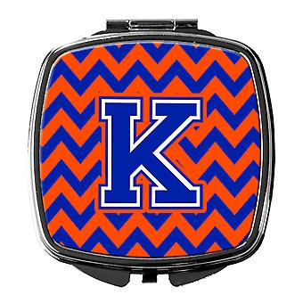 Carolines Treasures  CJ1044-KSCM Letter K Chevron Orange and Blue Compact Mirror
