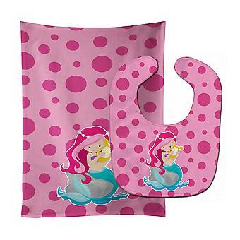 Beach Mermaid Pink Hair Pamela Baby Bib & Burp Cloth