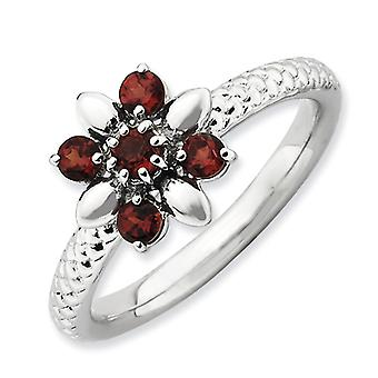 2.5mm Sterling Silver Polished Prong set Rhodium-plated Stackable Expressions Garnet Ring - Ring Size: 5 to 10