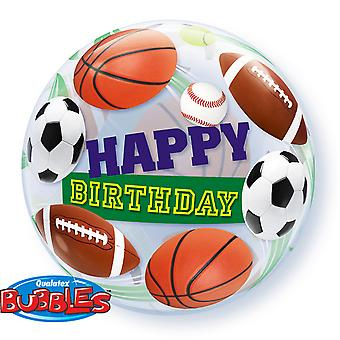 Qualatex Happy Birthday Sports Ball Single 22 Inch Bubble Balloon