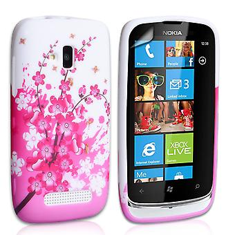 Yousave Accessories Nokia Lumia 610 Floral Bee Silicone Gel Case
