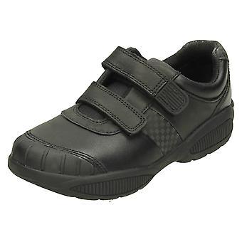 Clarks niños desgaste protección zapatos formales Jonas Glo - cuero negro - Reino Unido tamaño 8F - UE tamaño 25.5 - US tamaño 8,5 M