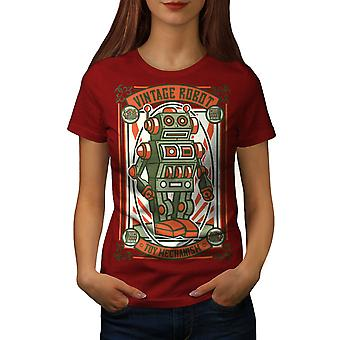 Vintage Old Robot Women RedT-shirt | Wellcoda