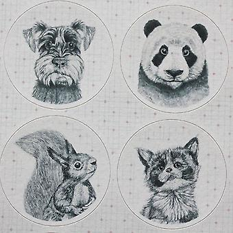 East of India ANIMAL Portraits Sticker Sheet Craft - Badger / Sheep /Panda / Pug x 40
