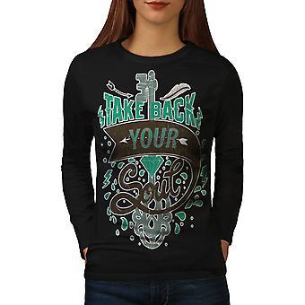T-shirt van de koker van de BlackLong van vrouwen van de Slogan van ziel terug te nemen | Wellcoda