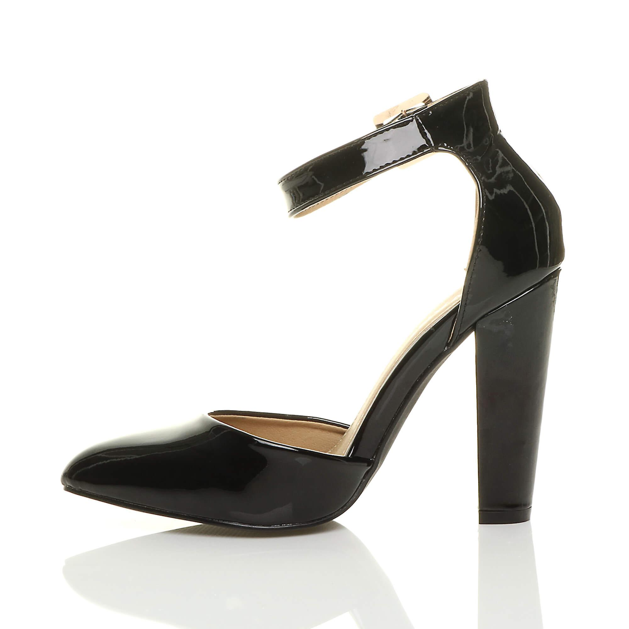 cuff strap sandals ankle high Ajvani womens court shoes buckle block heel pointed pumps g7WSqInST