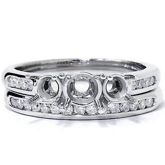 3 / 8ct drei steinerne Engagement Trauring Set 14K White Gold