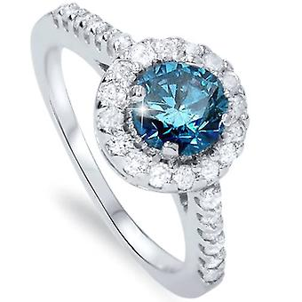 1 1/2ct Blue & White Diamond Halo Engagement Round 14K White Gold