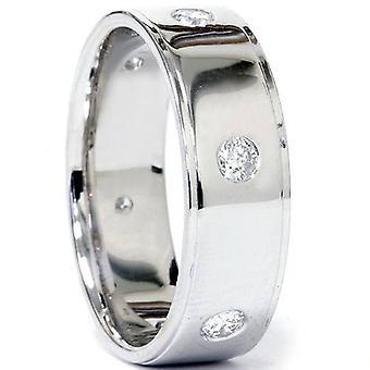 Mens 3/4ct Flat Step Cut Diamond High Polished Wedding Band 14k White Gold