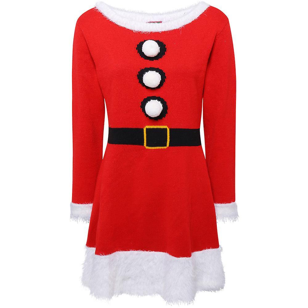 Christmas Womens/Ladies Mrs Claus Knitted Santa Jumper Dress