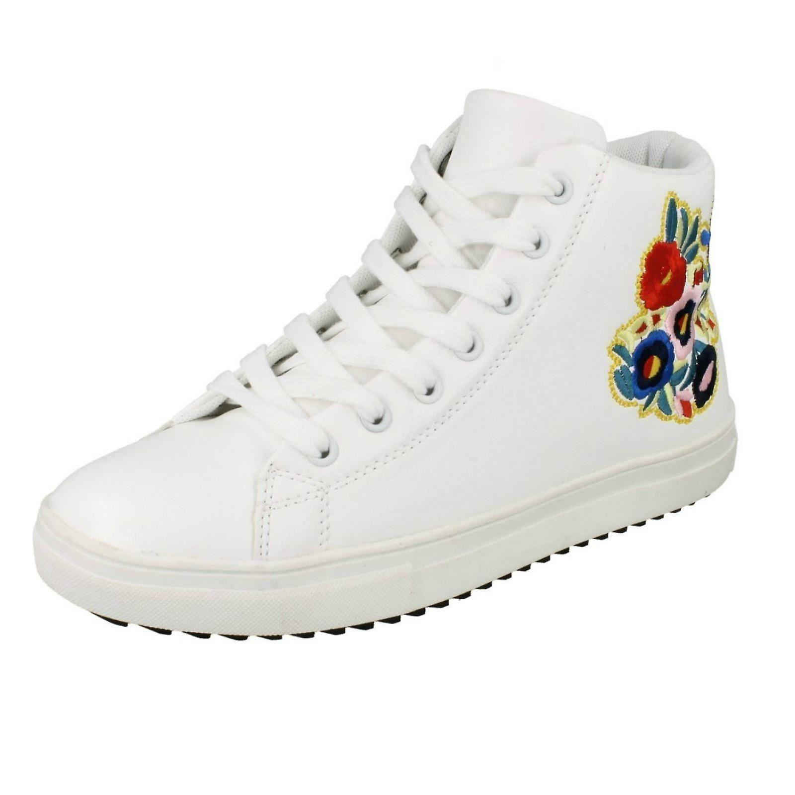 Ladies Spot On Hi-Top Trainer Boots F4396 - White Synthetic - UK Size 7 - EU Size 40 - US Size 9