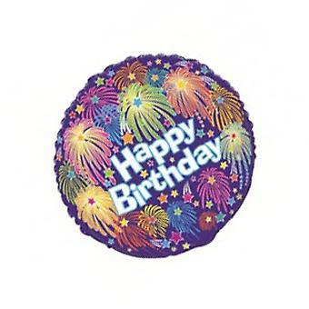 Folie ballon HAPPY BIRTHDAY met vuurwerk